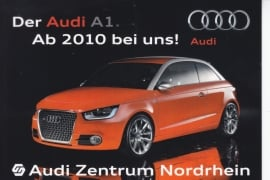 A1 Hatchback by Audi dealer in Düsseldorf, DIN A6 postcard, German language, 2010