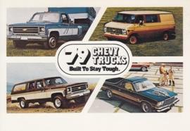 Chevy Trucks, 4 models, US postcard, standard size, 1979