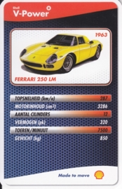 Ferrari 250 LM 1963 collector card, small size,  Shell V-Power issue, 2007 (# 14 of 24)