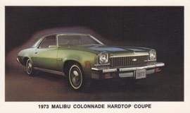 Malibu Colonnade Hardtop Coupe,  US postcard, standard size, 1973