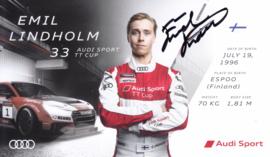 Racing driver Emil Lindholm, signed postcard 2016 season, English language