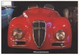Lancia Aprilia Barchetta 1938, modern card, issued by PreWarCar webmagazine
