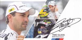 DTM driver Timo Glock, oblong autogram card, 2014, German/English