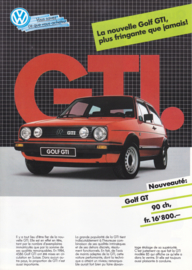 Golf GTI & GT brochure, A4-size, 4 pages, French language, 1985, Swiss