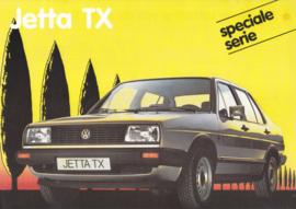 Jetta TX leaflet, A4-size, 2 pages, Dutch language, 01/1986, Belgium