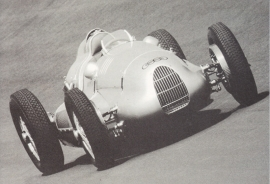 Auto Union Type D 1938, recent A6-postcard, issued by Audi factory museum, German