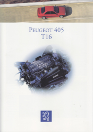 405  T16 Sedan brochure, 6 + 4 pages, A4-size, 1993, French language (Belgium)