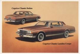 Caprice Classic Sedan & Landau Coupe,  US postcard, standard size, 1981
