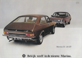 Marina II 1.8 2-Door GT brochure, 4 pages, A4-size, 1976, Dutch language
