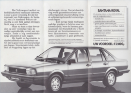 Santana Sedan folder, 6 small pages, Dutch language, 3/1984