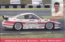 911 Carrera Cup with driver Daniel Bauer,  A6 postcard, about 2002,  German language