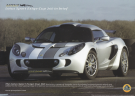 Sport Exige Cup 260 Coupe, 2 page leaflet, DIN A4-size, factory-issued, 2008, English language