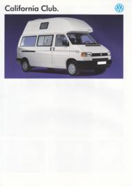 California Club camper brochure, 4 pages,  A4-size, Dutch language, 1995