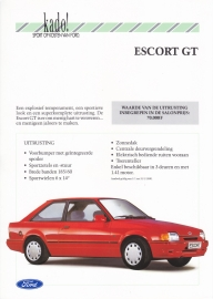Escort GT brochure, 2 pages, Dutch language, 01/1990 (Belgium)