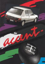 205 Accent brochure, 6 pages, A4-size, 1991, Dutch language