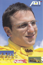 TT with racing driver Christian Abt, unsigned postcard 2001 season, German language
