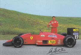 Formula One autogram postcard with driver Michele Alboreto, 1987, # 471