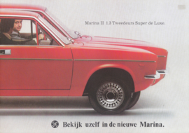 Marina II 1.3 2-Door Super de Luxe brochure, 8 pages, A4-size, 1976, Dutch language
