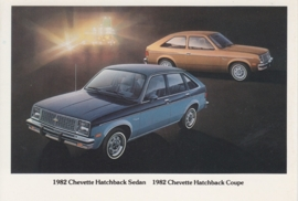 Chevette Hatchback Sedan & Coupe,  US postcard, standard size, 1982