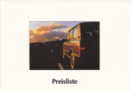 Range Rover pricelist, 4 pages, A5-size, 12/1986, German language