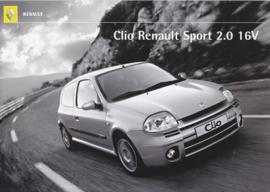 Clio Sport 2.0 16V brochure, 4 pages, 2000, Swedish language