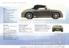 Cevennes Techn. Specifications and Equipment, large sheet, about 2010, English language