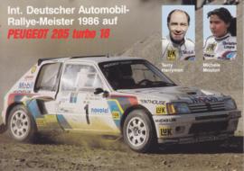205 Turbo 16 WRC with Harryman & Mouton, A6-size postcard, 1986