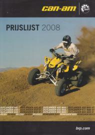 Can-Am pricelist leaflet, 2 pages, 2008, Dutch language