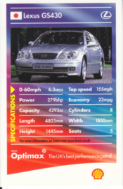 Lexus GS430 collector card, small size,  Shell Optimax issue, 2002, UK