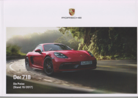 718 Boxster & Cayman GTS pricelist brochure, 88 pages, 10/2017, German language