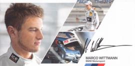 DTM driver Marco Wittmann, oblong autogram card, 2014, German/English