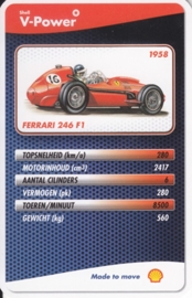 Ferrari 246 F1 1958 collector card, small size,  Shell V-Power issue, 2007 (# 3 of 24)
