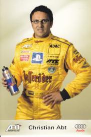 TT with racing driver Christian Abt, unsigned postcard 2003 season, German language