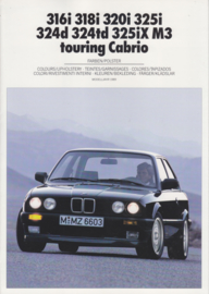 3-Series Colours & Upholstery brochure, 8 pages, A4-size, 2/1988, 7 languages