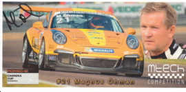 911 Carrera Cup with driver Magnus Öhman, oblong postcard, issued about 2015