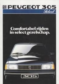 305 Sedan Select brochure, 4 pages, A4-size, 1987, Dutch language