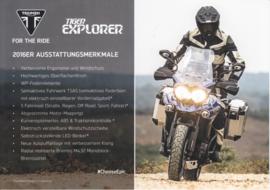 Triumph Tiger Explorer, A5-size doublesided sheet, German language, 2016