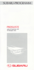 Pricelist brochure, 6 pages, German language, 09/1991