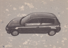 Civic VEi Hatchback, Swiss postcard, DIN A6, about 1992