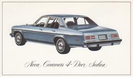 Nova Concours 4-Door Sedan,  US postcard, standard size, 1976