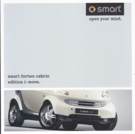 Fortwo Cabrio edition i-move brochure,  8 small square pages, 02/2004, German language