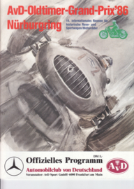AvD Oldtimer Grand Prix programme,  A4-size, 44 pages, 15-17 August 1986, German language