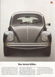 Beetle Final Edition brochure, 4 pages,  A4-size, German language, about 1986