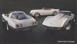 Corvette with old model, US postcard, standard size, 1978
