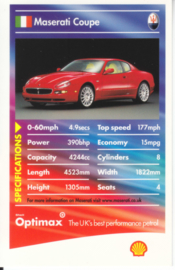 Maserati Coupe collector card, small size,  Shell Optimax issue, 2002, UK