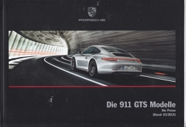 911 Carrera GTS Models pricelist, 84 pages, 03/2015, German