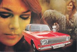 12M 2-door Sedan, DIN A6-size postcard, empty back side, approx. 1969