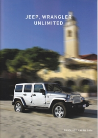Wrangler Unlimited pricelist, 16 pages, 04/2016, Dutch language
