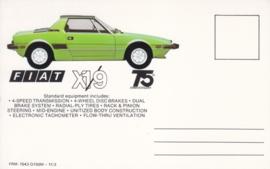 X 1/9 sports car, standard size, US postcard (# 7543)