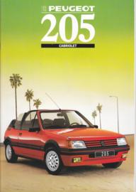 205 Cabriolet brochure, 18 pages, A4-size, 1988, Dutch language